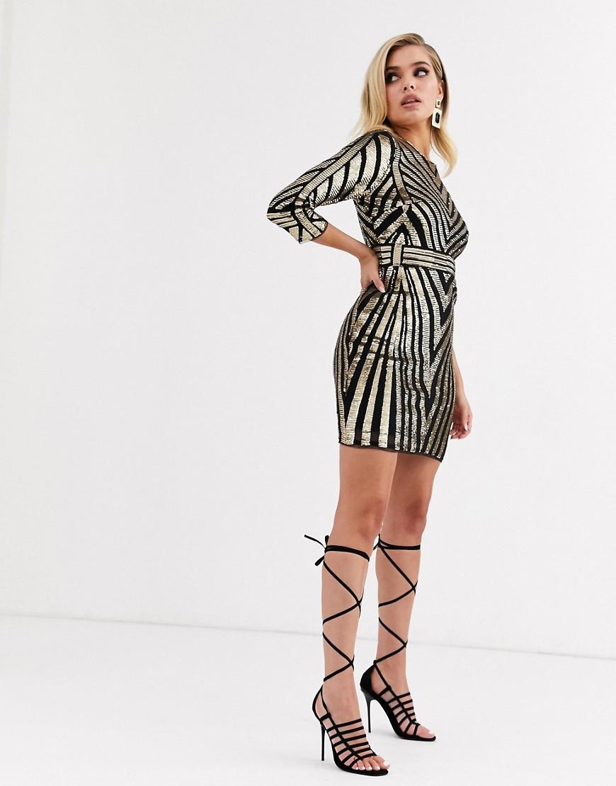 Czarna-Zlota-Sukienka-mini-w-cekiny-defekt-L-40